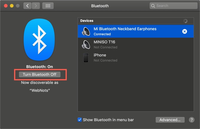 Turn Bluetooth Off on Your Mac