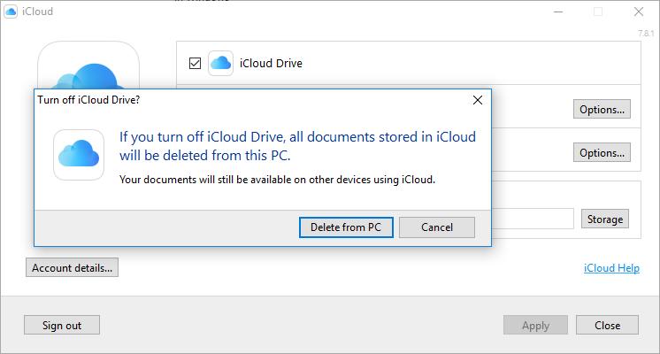 Turn Off iCloud in PC