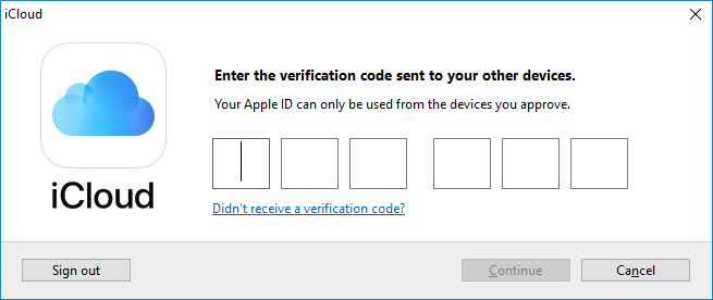 Two Factor Authentication for iCloud Access in Windows