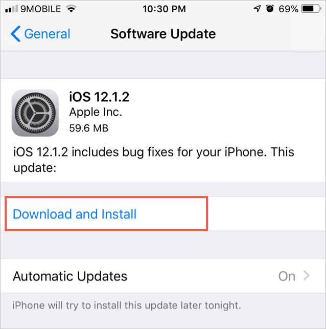 Update iOS in iPhone
