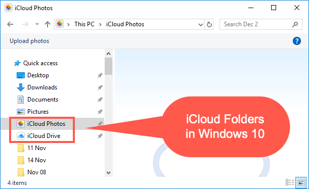 iCloud Folders in Windows 10