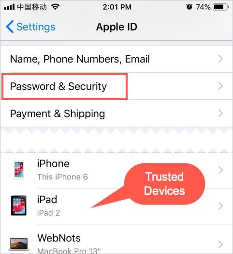 iCloud Settings in iPhone