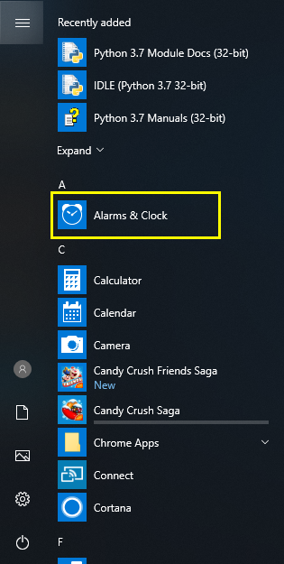 Alarms and Clocks in Start Menu