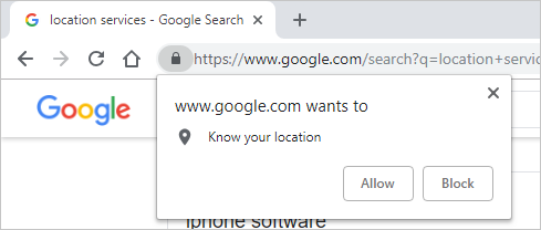Allow Location Sharing in Chrome