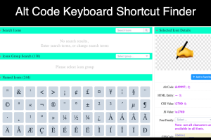 Alt Code Keyboard Shortcut Finder