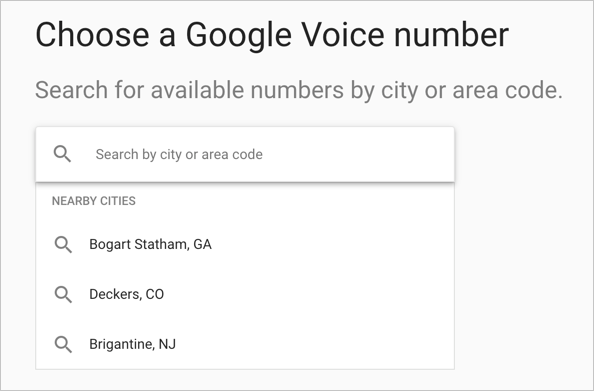 Choose Google Voice City