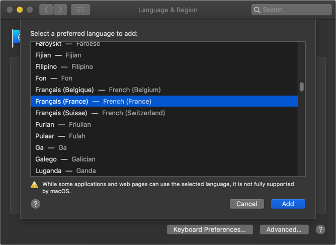 Choose Language in Mac
