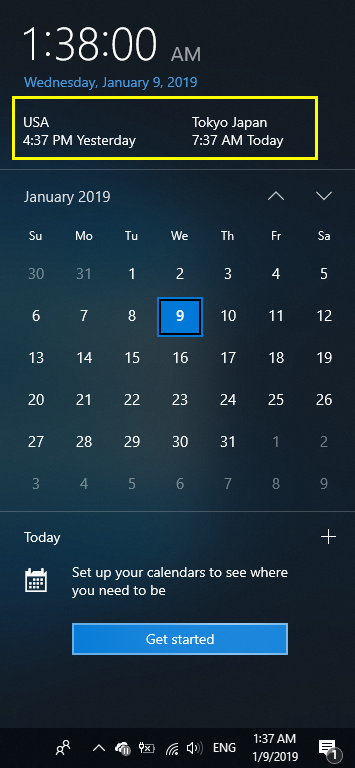 Clock Display in Calendar