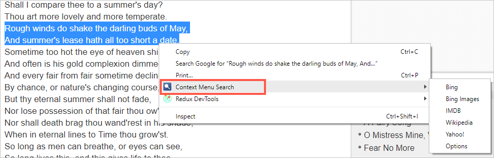 Context Menu Search