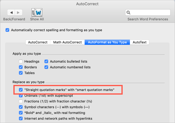 Disable Smart Quotes in Mac Word