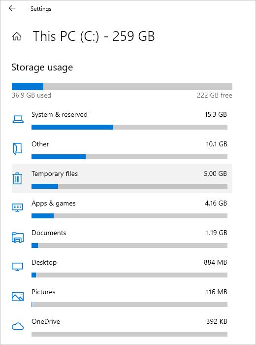 Disk Usage Details