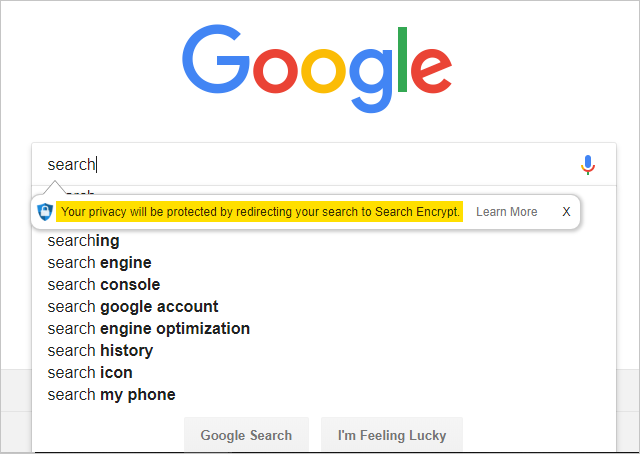 Google Search with Search Encrypt