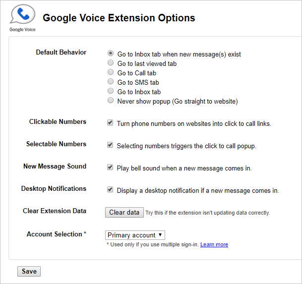 Google Voice Extension Options