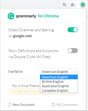 Grammarly Options