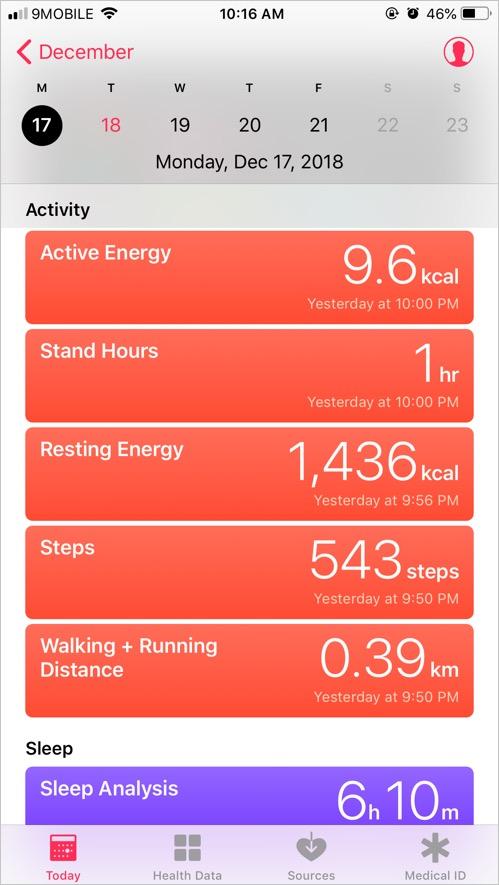 Health App in iPhone