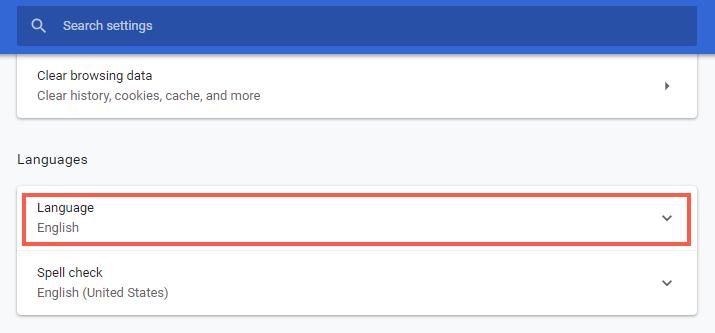 Language Settings in Chrome