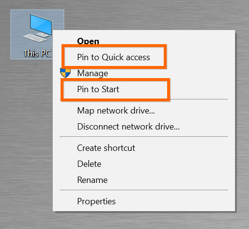Pin This PC to Quick Access and Start