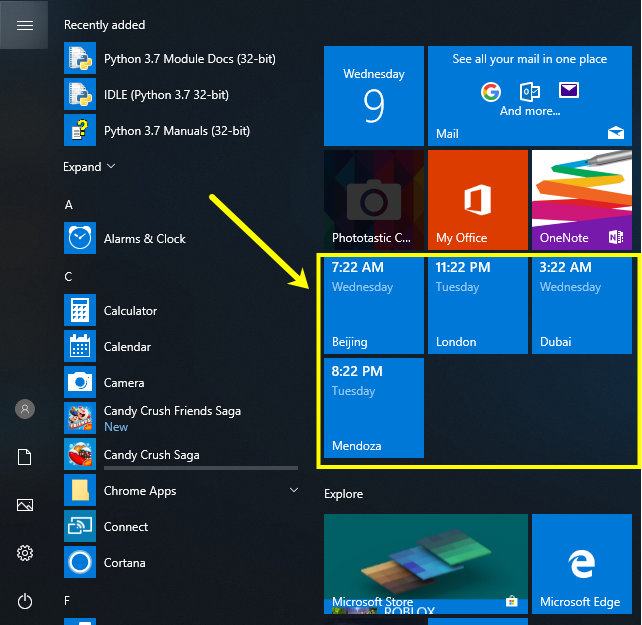 Pinned Clocks in Start Menu