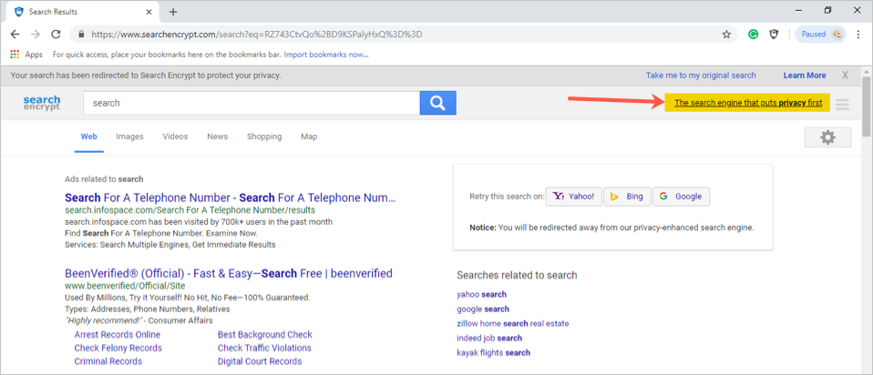 Search Results by Search Encrypt