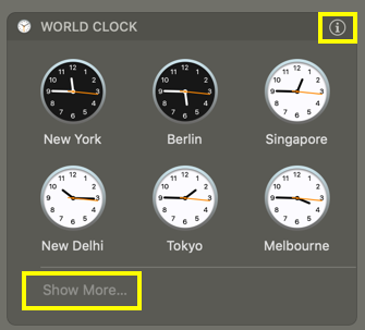 Six Clocks in Notification Center