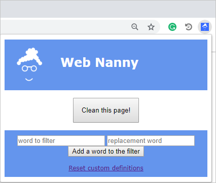 Web Nanny Chrome Extension
