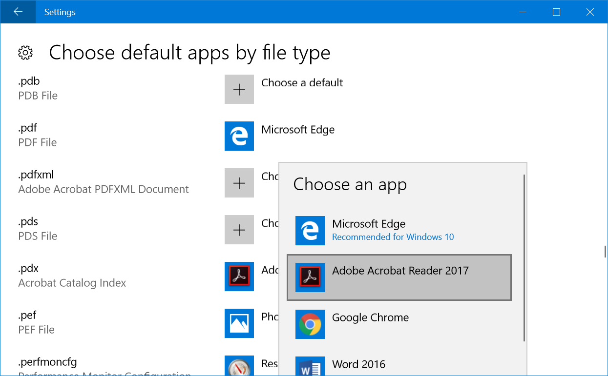 Choose Apps for File Types