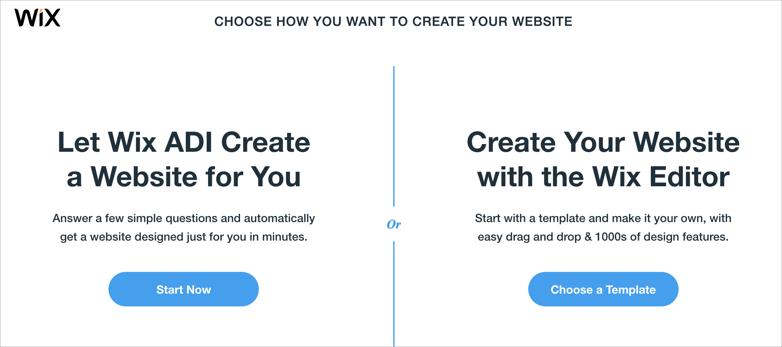 Choosing Wix Editor