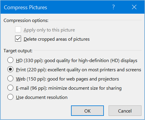 Compress Pictures in PDF