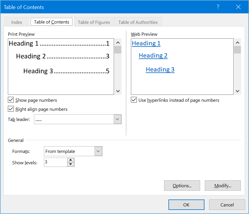 Customize TOC in Word