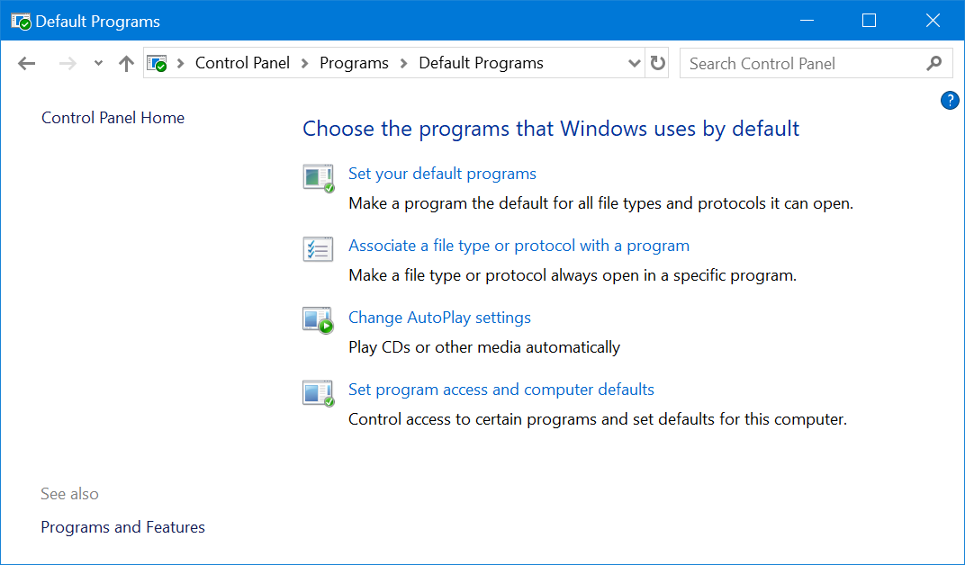 Default Programs Settings from Control Panel