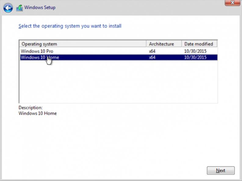 Choose Windows Edition