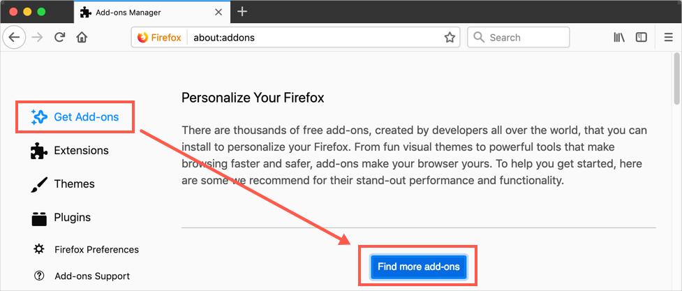 Find Add Ons in Firefox