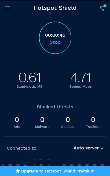 Hotspot Shield VPN Dashboard