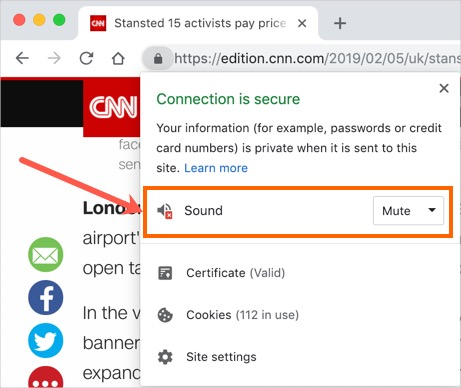 Mute Site from Chrome Address Bar