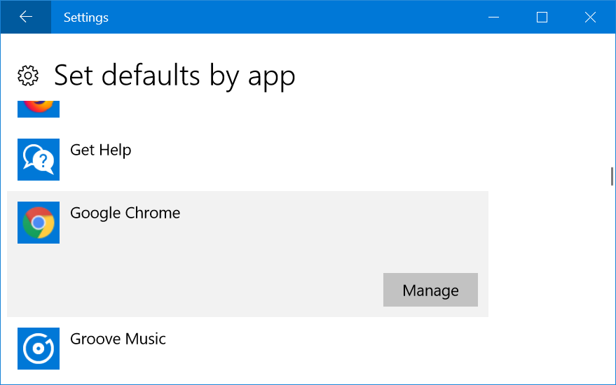 Set Defaults by Apps
