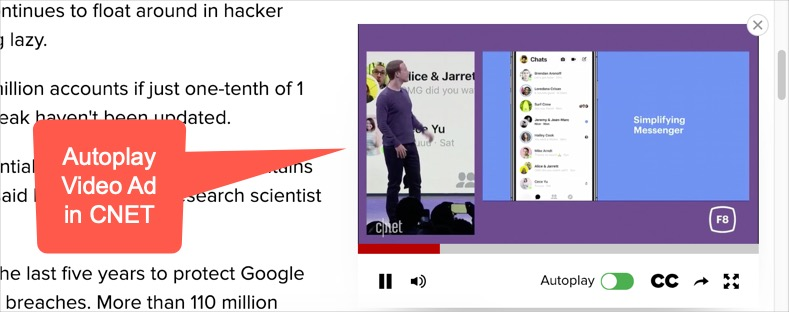 Video Popup Ad in CNET