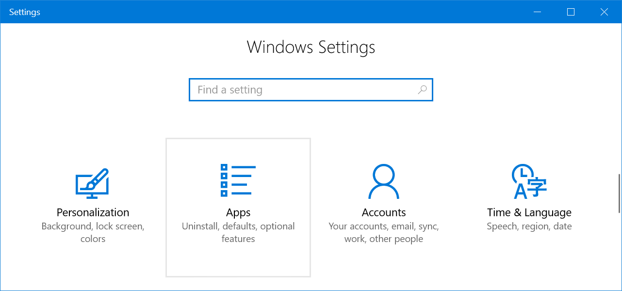 Windows App Settings