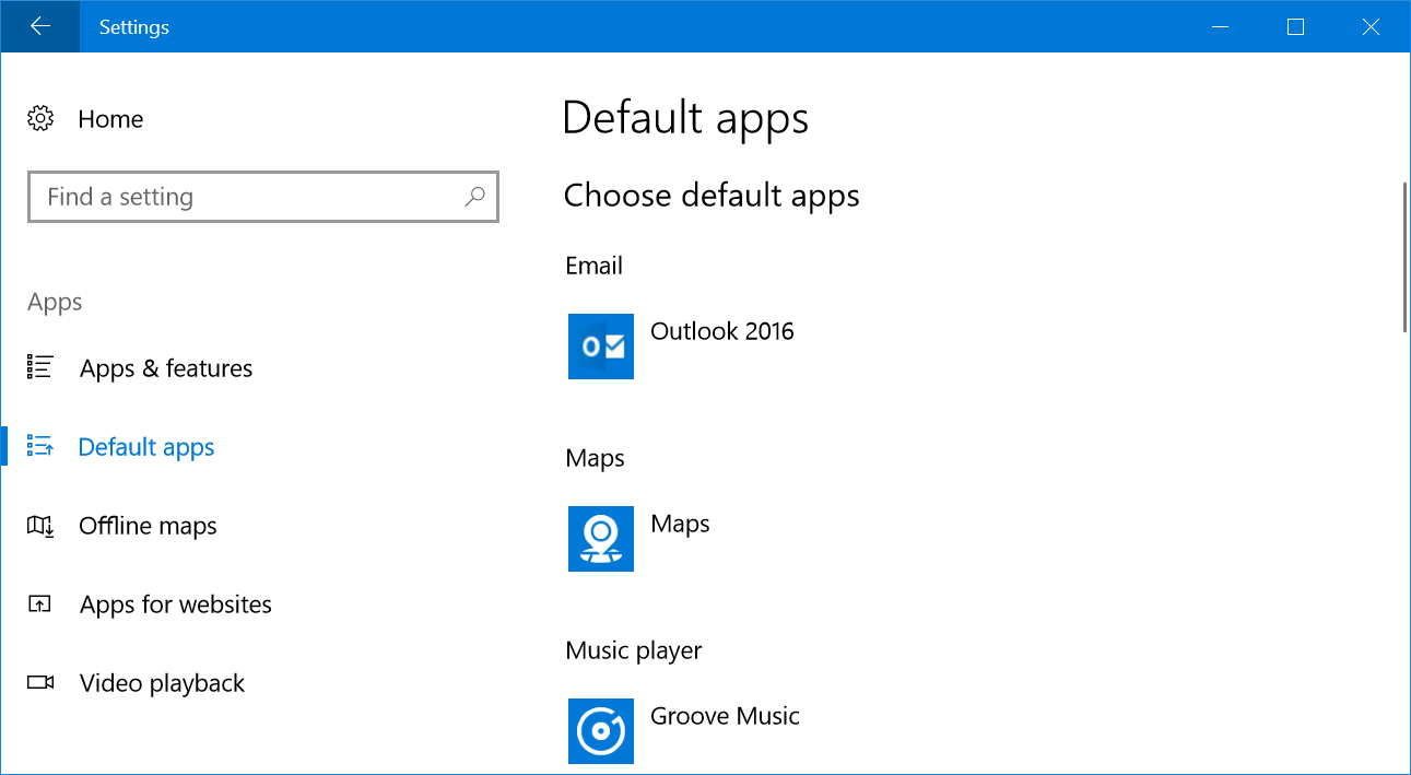 Windows Default Apps Settings
