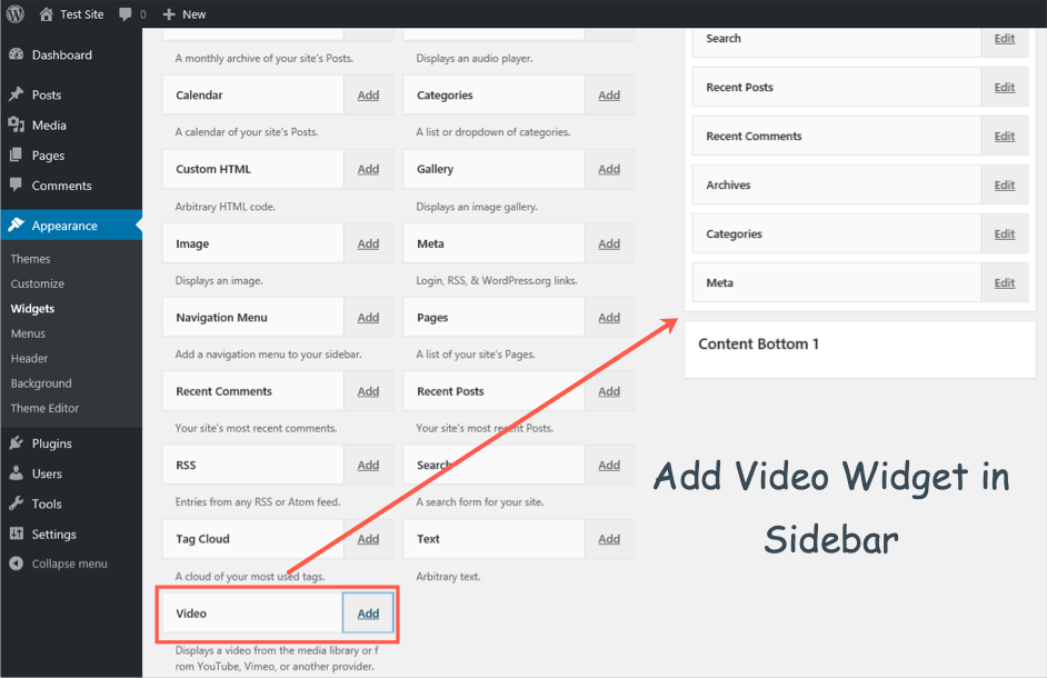 Add Video in Sidebar
