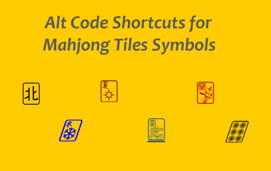 Alt Code Shortcuts for Mahjong Tiles Symbols