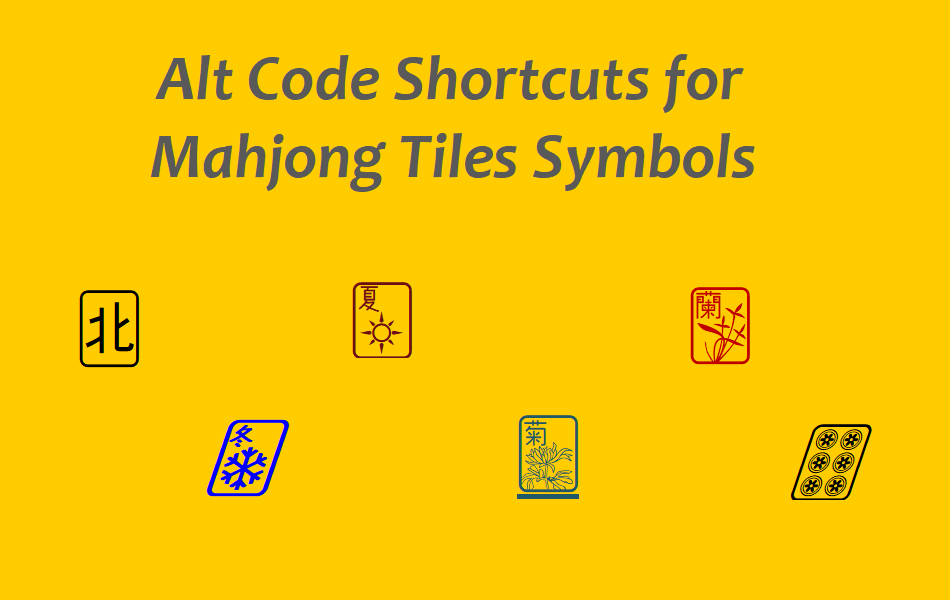 Alt Code Shortcuts for Mahjong Tiles
