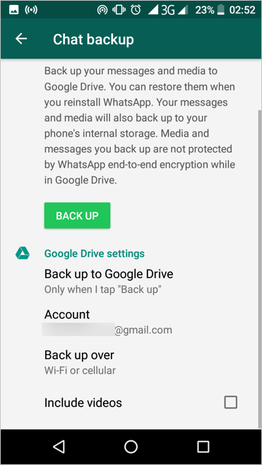 Back Up WhatsApp Chat