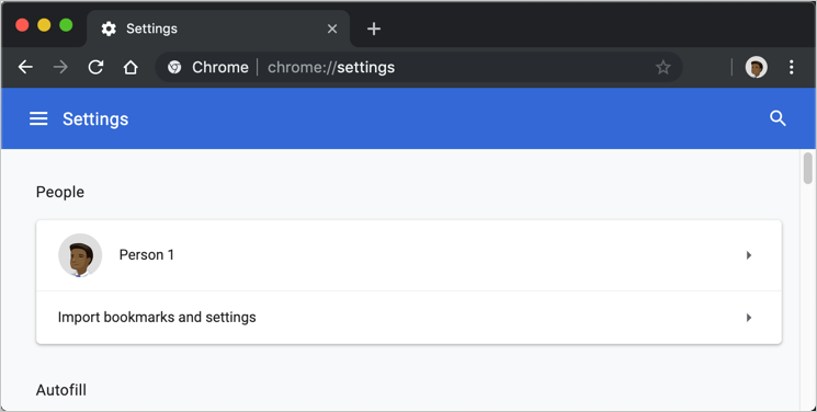 Chrome Settings Page in Dark Mode
