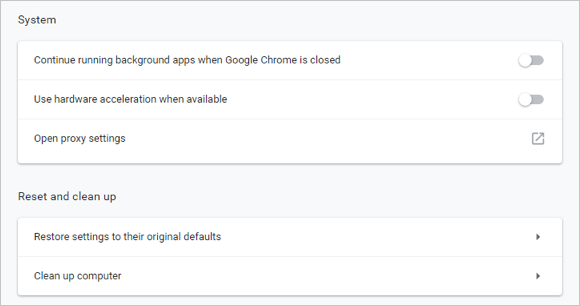 Chrome System Settings