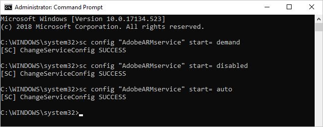 Configure Startup Type
