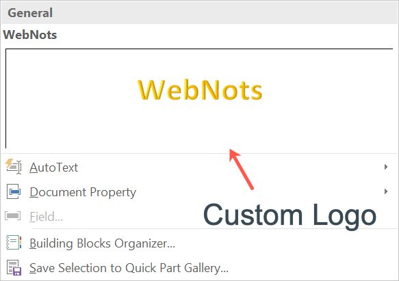 Custom Building Block Added in Quick Parts