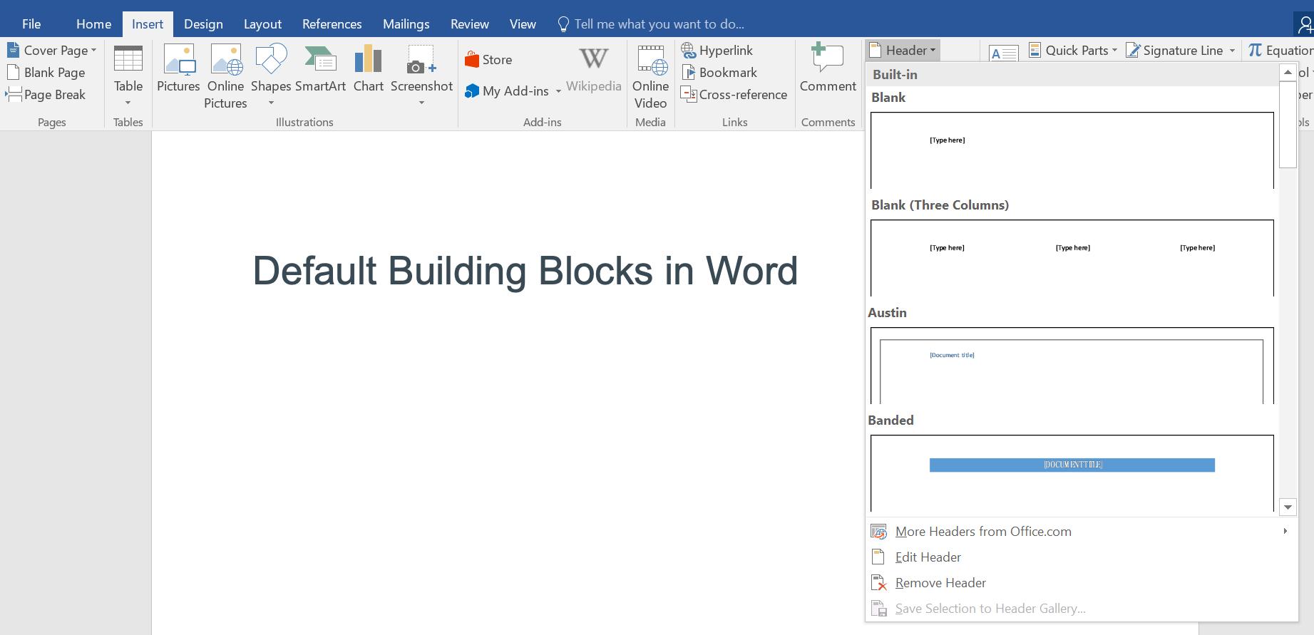 Default Building Blocks in Microsoft Word