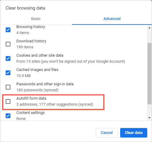 Delete Autofill Data