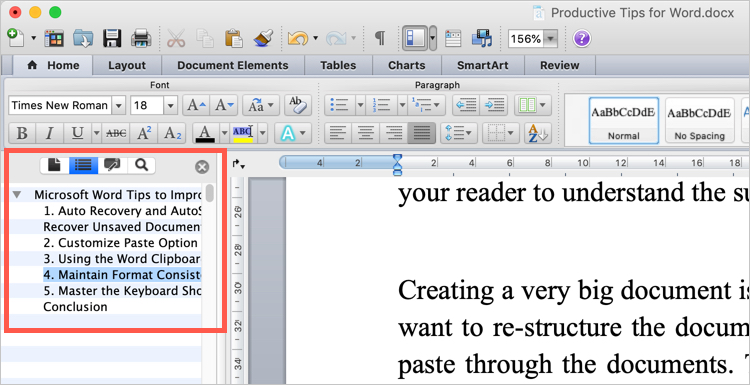 Document Map Pane in Mac Word