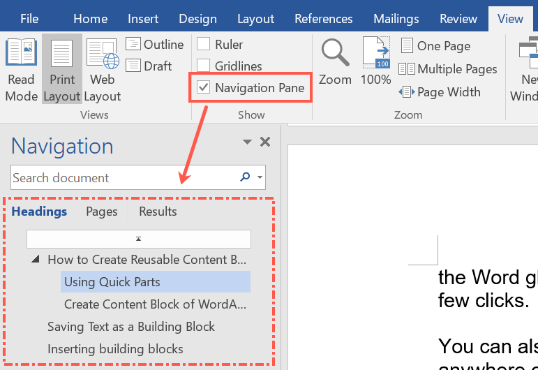 Drag and Drop Blocks in Word